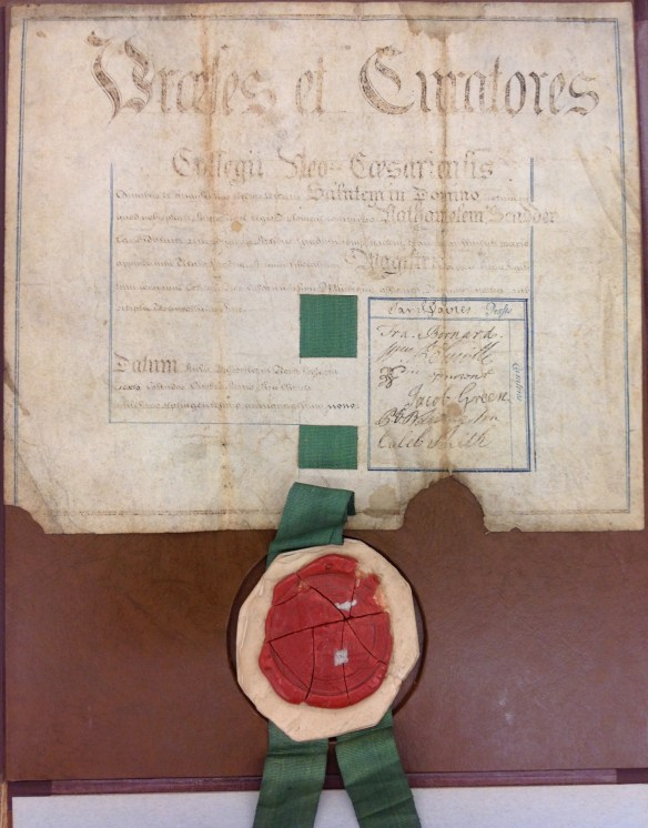 Nathanial Scudder's College of New Jersey - Master of Arts Degree from 1759 - from the Princeton University Diploma Collection (AC138)