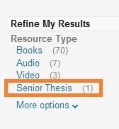 senior thesis resource type