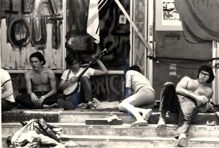 Sit in at IDA with graffitti, 1970