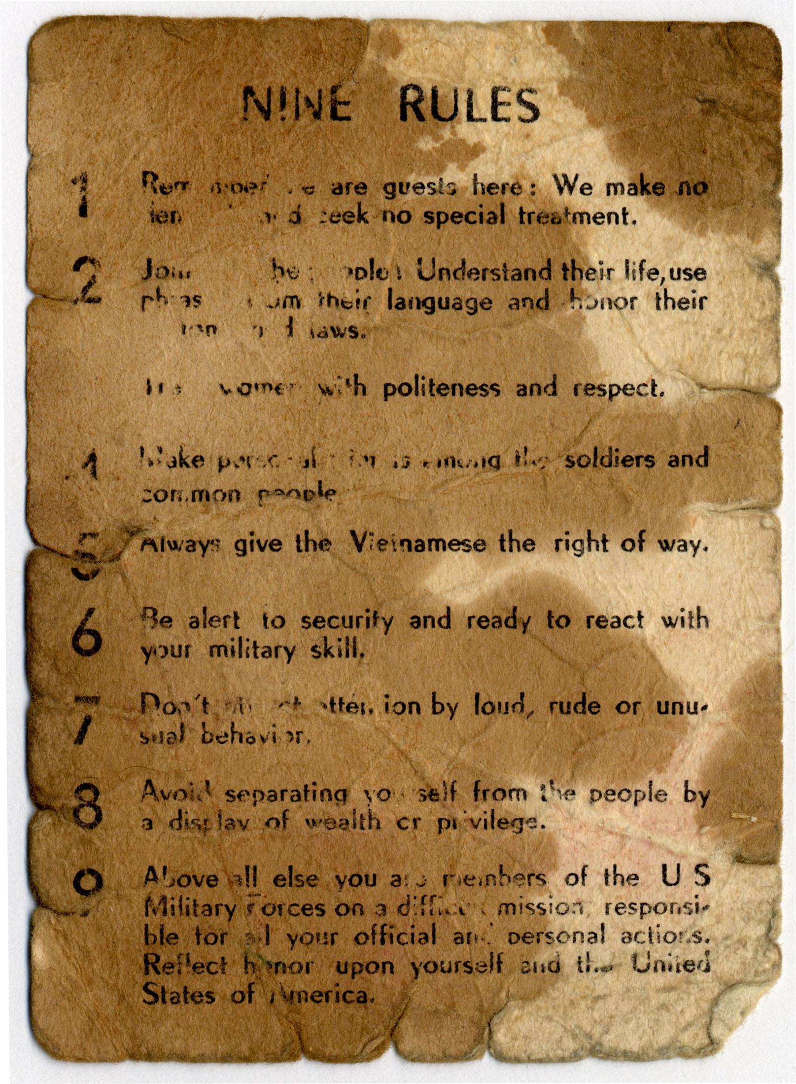 Nine Rules card