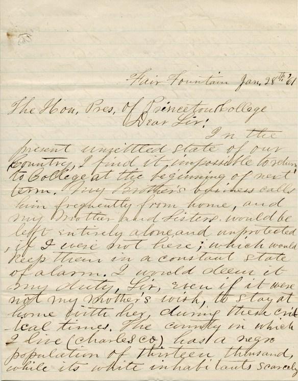 Josias Hawkins letter 1