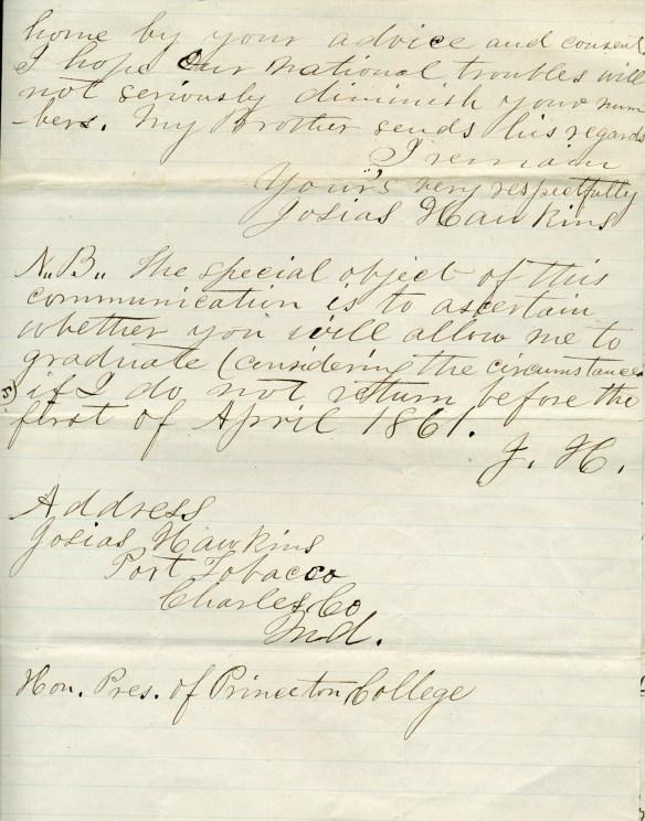 Josias Hawkins letter 3