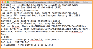 Pictured here is the full email header from a message in the publicly available Enron Email Dataset.