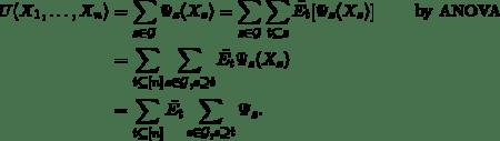 \begin{align*}  U(X_1,\ldots,X_n)&=\sum_{s \in \mathcal{G}} \Psi_s(X_s)= \sum_{s \in \mathcal{G}} \sum_{t \subseteq s} \bar{E_t}[\Psi_s(X_s)]\qquad\text{ by ANOVA}\\ &= \sum_{t \subseteq [n]} \sum_{s \in \mathcal{G}, s \supseteq t} \bar{E_t} \Psi_s(X_s)\\  &= \sum_{t \subseteq [n]} \bar{E_t} \sum_{s \in \mathcal{G}, s \supseteq t} \Psi_{s}. \end{align*}