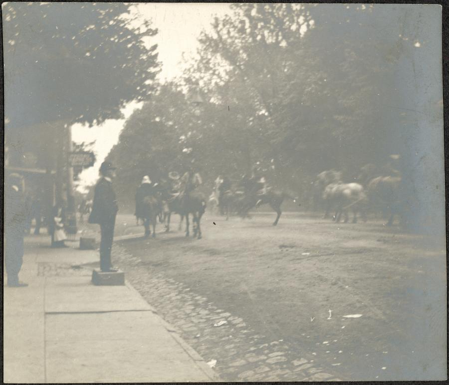 "Printed on Verso: ""Pawnee Bill in Princeton. May 15th 1899. The Fort Sill stage-coach runs away."""