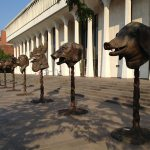 Zodiac Heads in front of Robertson Hall