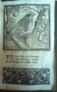 The first day of Christmas My true love gave to me A partridge in a pear tree..