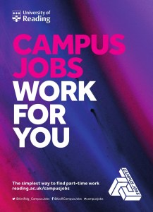 CAMPUS JOBS promotional poster containing the brand visual identity, logo, and links to social media channels.