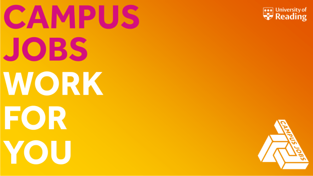 Campus Jobs white text on an orange background
