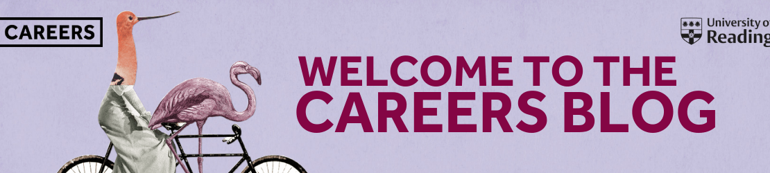Welcome to the Careers blog, next to an illustration of a flamingo on a bicycle. The Careers and University of Reading Logos are in the top corners.