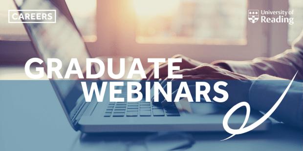 Text: graduate webinars, Image: laptop typing