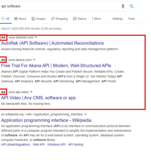 Screenshot of google search engine ads