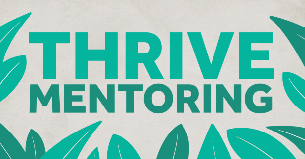 Thrive mentoring surrounded by leaves