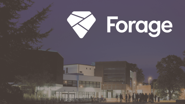 Carrington and Palmer buildings at night and forage logo