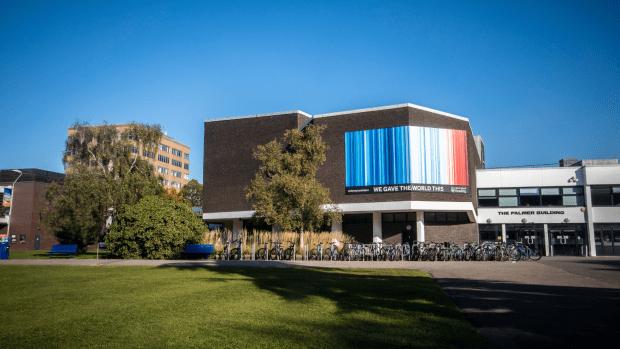 Climate stripes on palmer builder - University of Reading