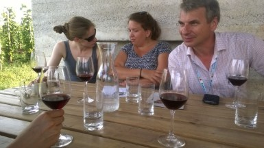 Drinking 'Bull's Blood' with Gerd Stammler of German chemical company BASF