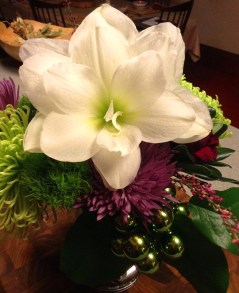 Dawn's floral arrangement featuring Amaryllis