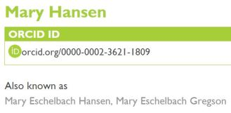 Example of ORCID record with two distinct surnames
