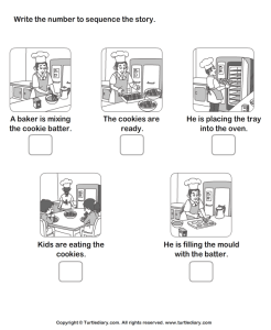 worksheet with steps for baking cookies to be put in chronological order