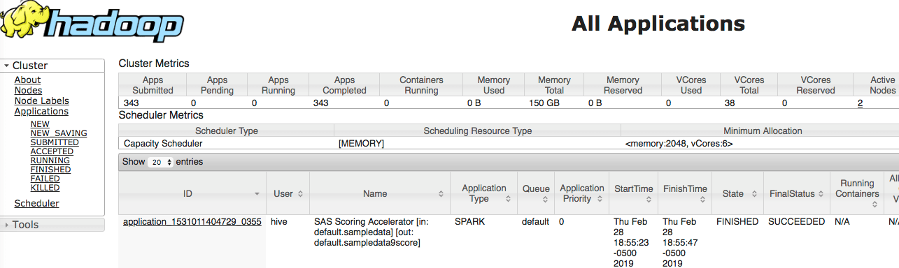 Score data in Spark from MVA SAS using Spark