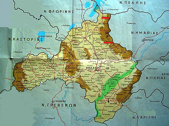 Σύγχρονος Χάρτης γεωπολιτικός χάρτης του νομού Κοζάνης. Επάνω δεξιά έχουν σημειωθεί με κόκκινο πλαίσιο οι οικισμοί Ερμακιά και Κλεισούρα