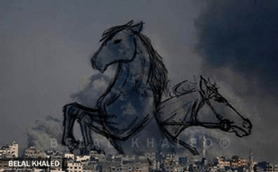 An image of horses drawn over smoke rising from a city, by Belal Khaled