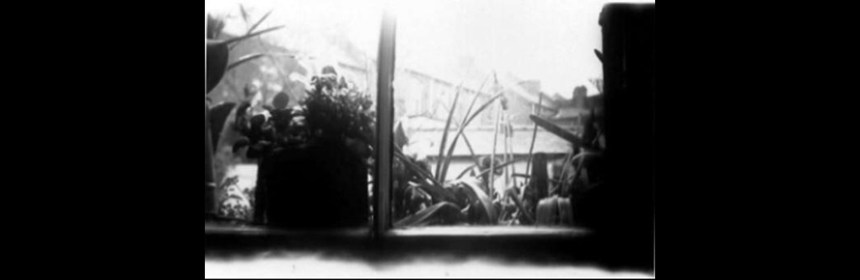 Still from Rose Butler's short film 'Box'. Property of Rose Butler. Image shows a view from a window, in black and white.