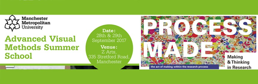 Composite banner image of Visual Methods Summer School (Manchester) and accompanying exhibition 'Process Made'