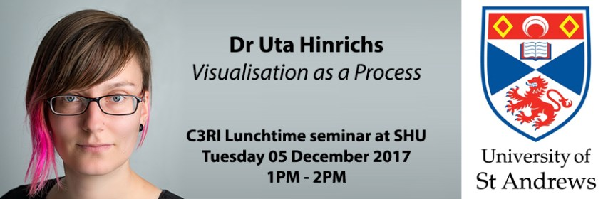 Composite image - Dr Uta Hinrichs, University of St Andrews logo and details of research seminar
