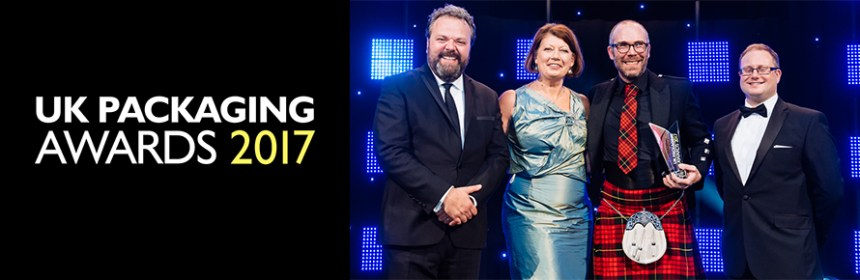 Image of UK Packaging Awards 2017 logo and (L-R) Hal Cruttenden (comedian), OPRL award sponser Jane Bevis, Design Futures' Peter Macqueen and Phillip Chadwick (Packaging News editor)