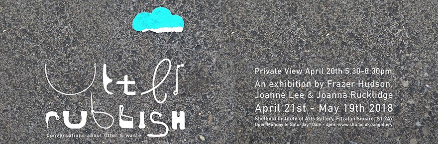 Flyer image for 'Utter Rubbish' exhibition at SIA. By Joanne Lee, Joanna Rucklidge and Frazer Hudson.