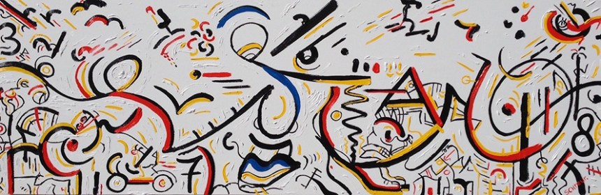 """Series 'Trust' – """"My Mind is All Over"""" – 72x24 inch – Oil on canvas - Marcel Schreur"""