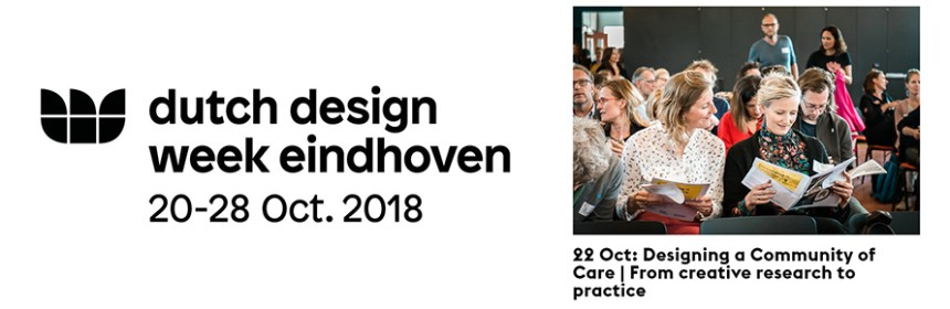 Dutch Design Week logo , plus image from Sander van Wettum - taken from website at https://stimuleringsfonds.nl/en/latest/news/22_oct_designing_a_community_of_care_from_creative_research_to_practice/
