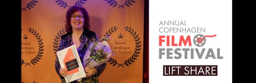 Virginia Heath at award ceremony at Copenhagen Film Festival, and logo