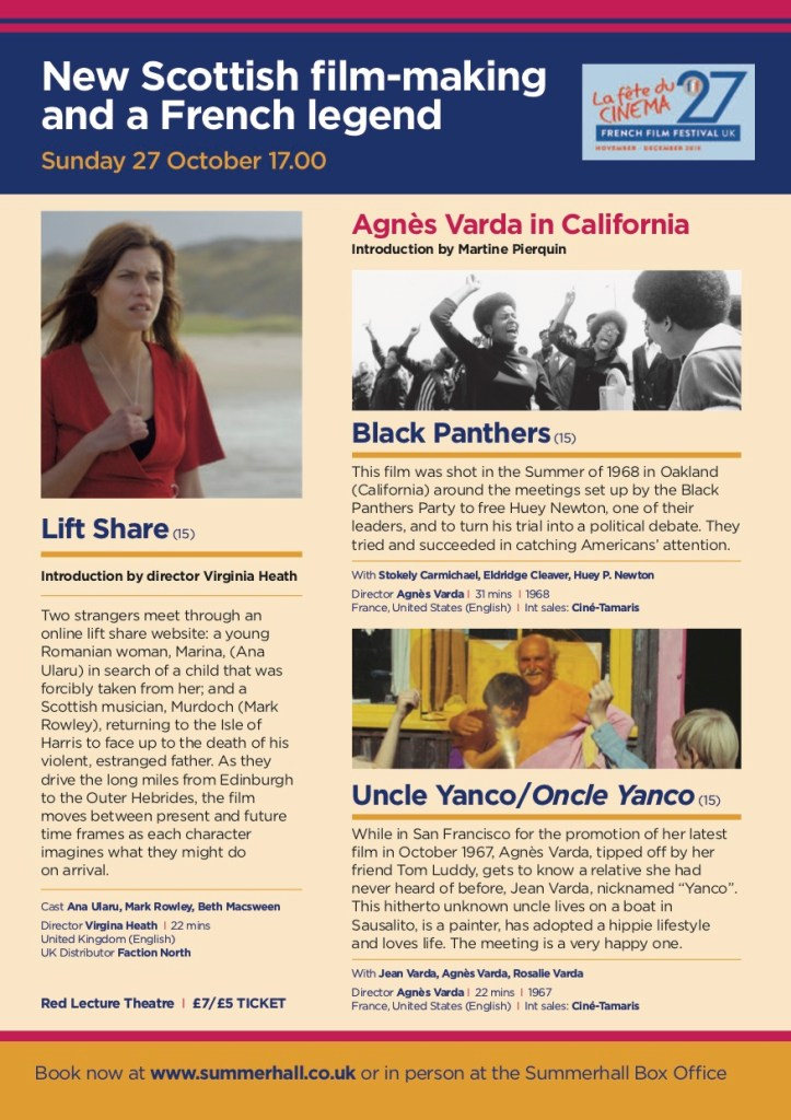 Event information for Agnes Varda in California, featuring Virginia Heath's 'Lift Share' at Summerhall Edinburgh