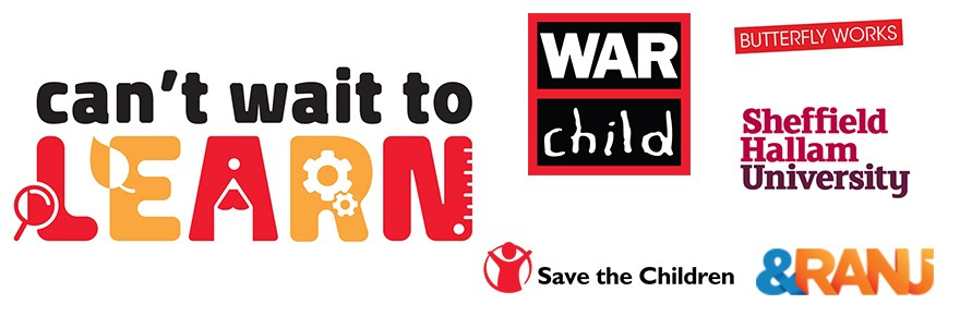CWTL Banner with logos for &ranj, War Child, Sheffield Hallam University, Butterfly Works and Save the Children