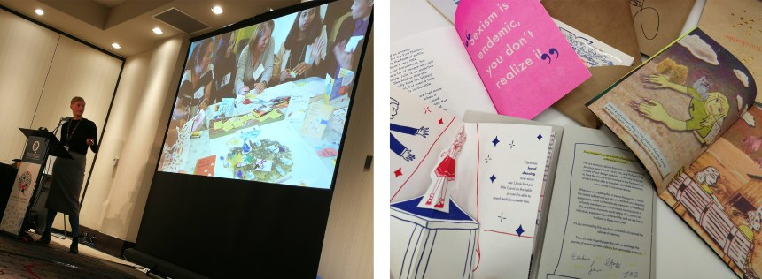 Lisa Boulton presenting the work and some of the zines the students co-created