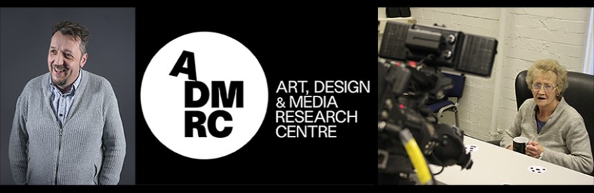 Seminar banner - Picture of Alaster Yoxall, ADMRC logo and picture of woman with mug being filmed