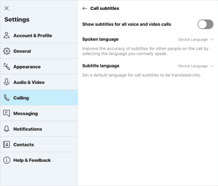 "Screenshot of the Settings pane in Skype, Calling selected, and the option to ""Show subtitles for all voice and video calls"" not yet toggled on."