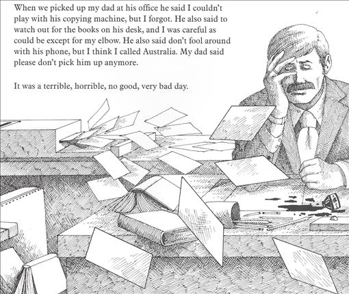 Image result for alexander and the terrible horrible no good very bad day illustrations dad office