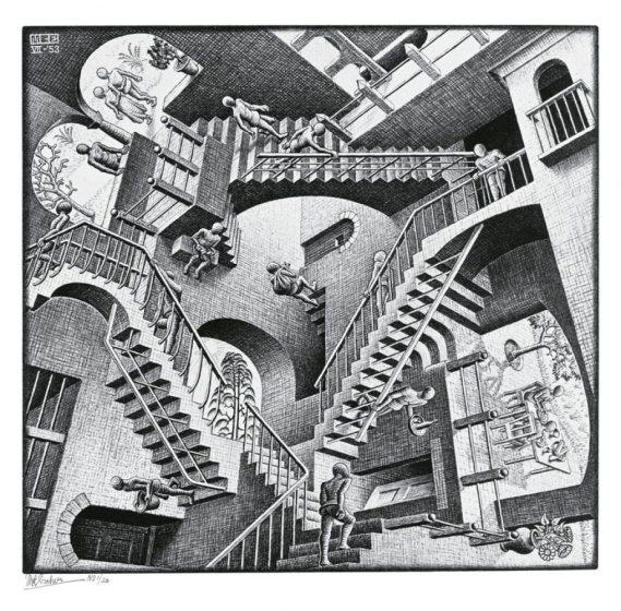 Relativity, by MC Escher
