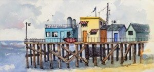 Coffee on the Pier, by Norm Rossignol