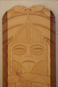 Frog and Moon, Chinook Power Board by Greg Robinson, Chinook Tribal Member
