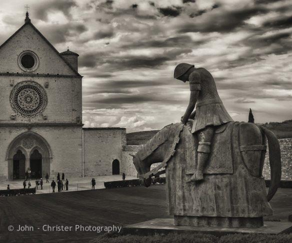 St Francis-Equestrian statue; b&w