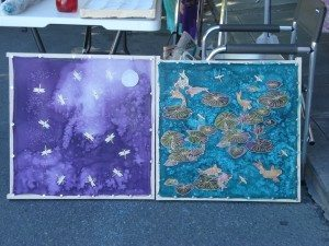 Judy finished these two incredible silk wall hanging today!