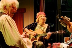 "John Gretzinger and Candace Kreitlow, onstage during a performance of ""The Legend of Old Befana"" t the Sawdust Theatre in Coquille, Oregon"