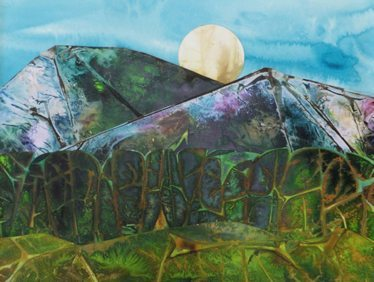 Mixed Media Landscape painting with moon by Eve Margo Withrow