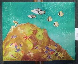 """Handpainted silk wall hanging with a """"Save Our Oceans - Marine life"""" design by Judy Elliott"""