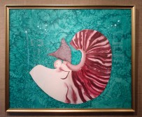 Handpainted framed silk painting with an endangered nautilus design by Judy Elliott