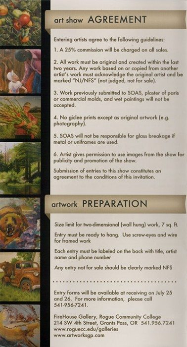 Call to Artists for the 66th Annual Southern Oregon Art Show - information and agreement